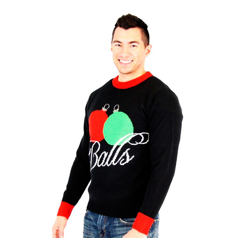 Balls Holiday Ornaments Tacky Ugly Christmas Xmas Sweater-tvso