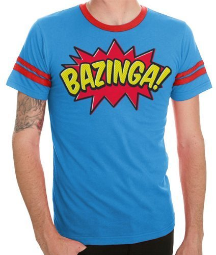 Comic Book Type Bazinga Striped Sleeves Blue Adult T-shirt-tvso