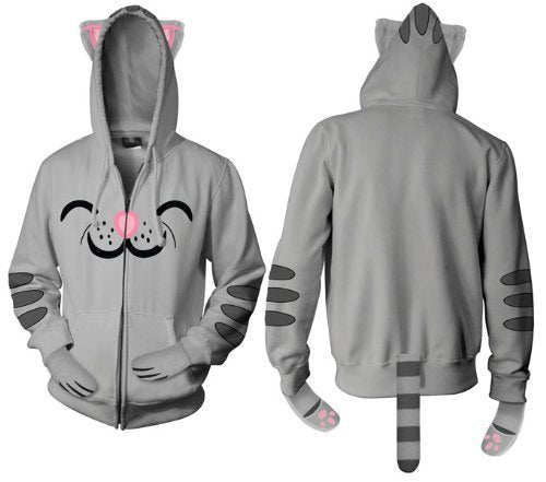 Soft Kitty Gray Mens Hooded Sweatshirt Hoodie with Ears-tvso