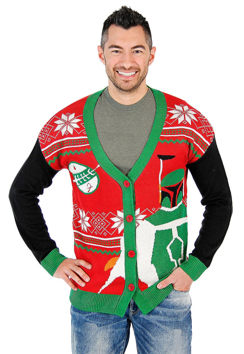 Boba Fett Ugly Christmas Cardigan Sweater-tvso