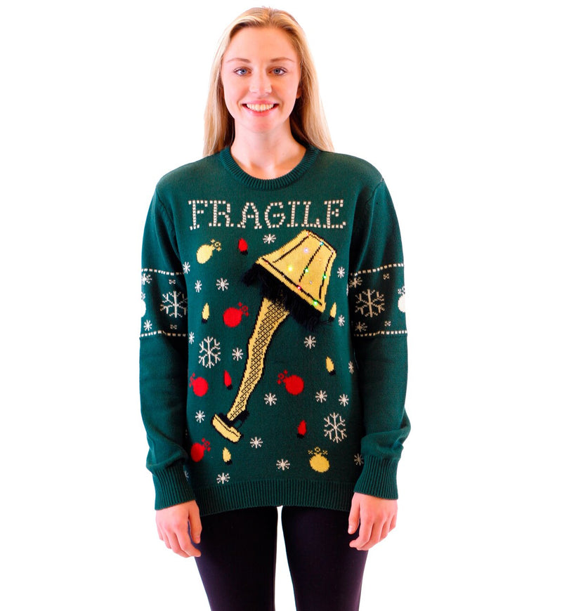 Fragile Leg Lamp Light Up Ugly Christmas Xmas Sweater-tvso