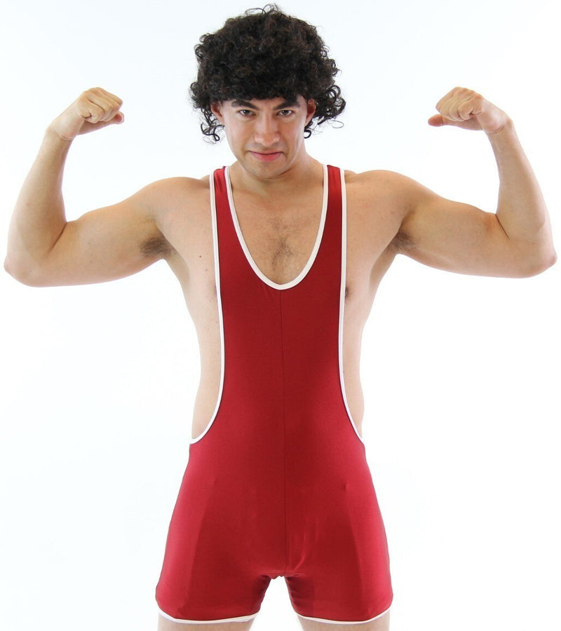 High School Gym Wrestling Team Wrestler Uniform Costume Singlet & Wig-tvso