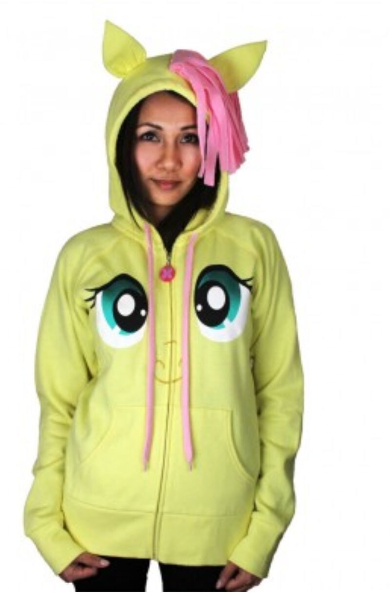Fluttershy Pegasus Face Butter Yellow Hoodie with Mane and Wings-tvso