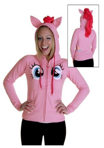 Pinkie Pie Face Juniors Pink Costume Hoodie with Mane-tvso