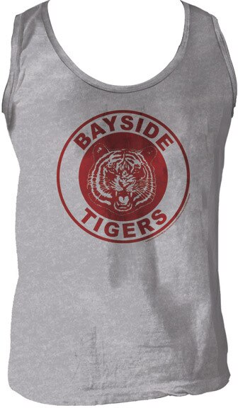 Saved By The Bell Bayside Tigers Logo Heather Gray Men's Tank Top-tvso