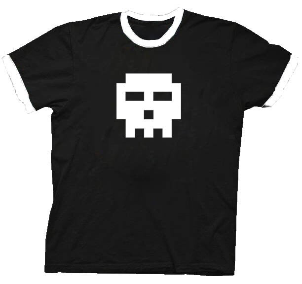 Pixel Skull Adult Black with White Ringers T-shirt-tvso