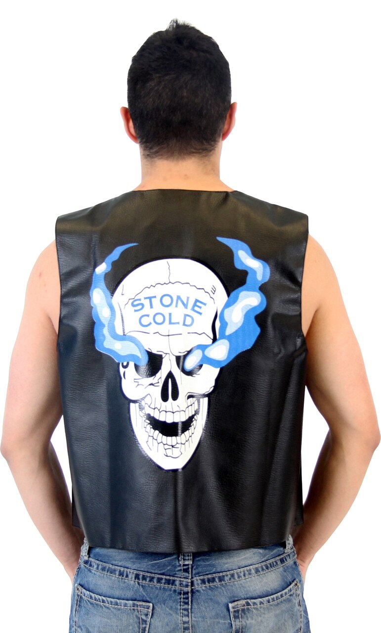WWE Stone Cold Steve Austin 3:16 Smoking Skull Leather Vest-tvso
