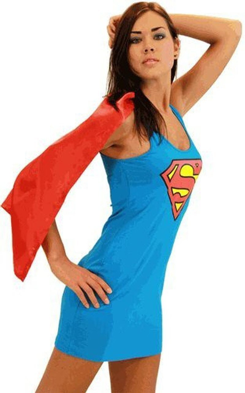 Superman Supergirl Tank Dress with Detachable Cape-tvso