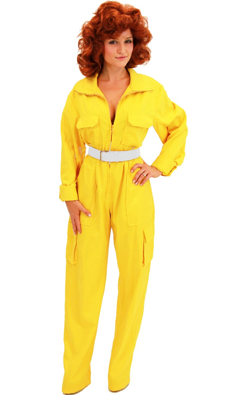 April O' Neil Yellow Ladies Costume Jumpsuit-tvso
