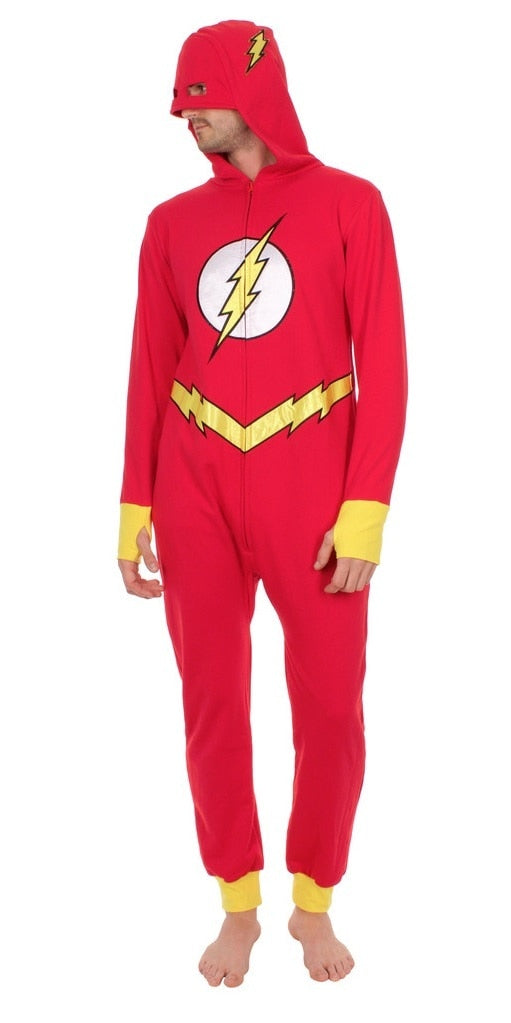 Barry Allen The Flash Hooded One Piece Pajama-tvso