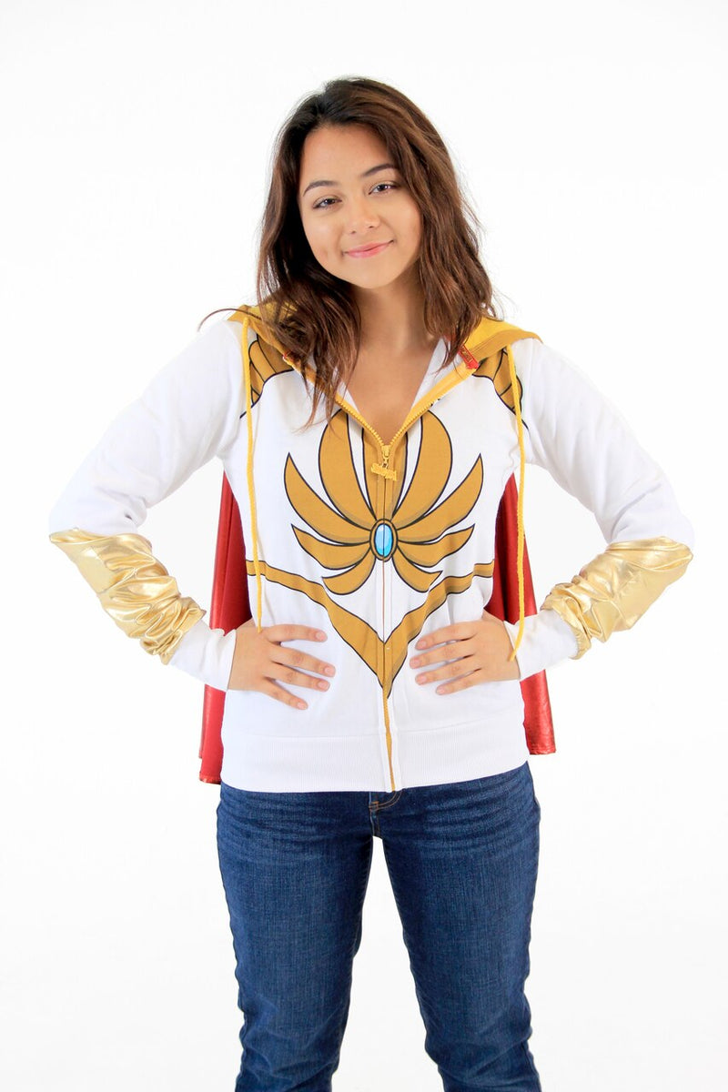 I Am She Ra Juniors White Hoodie With Cape-tvso