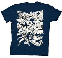 Marvel Comics Characters UV Collage Navy Youth T-shirt - Indoor