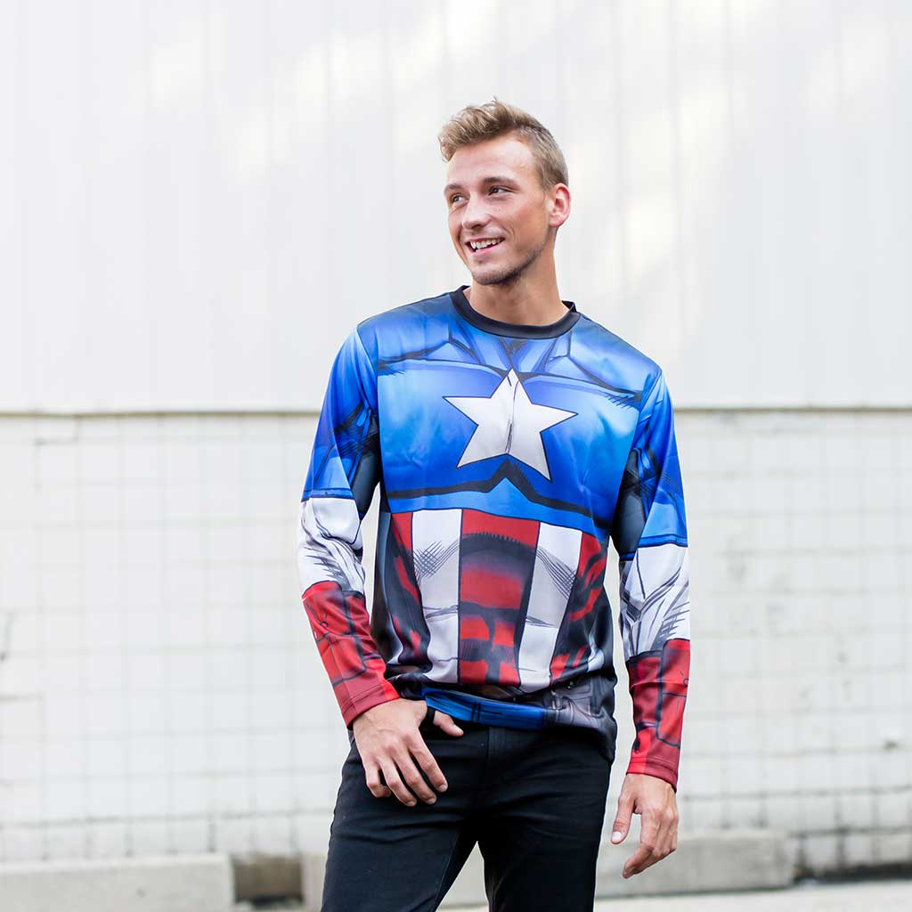Captain America Sublimated Adult LONG SLEEVE Costume T-Shirt Guy