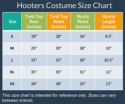 Hooters Costume Size Chart