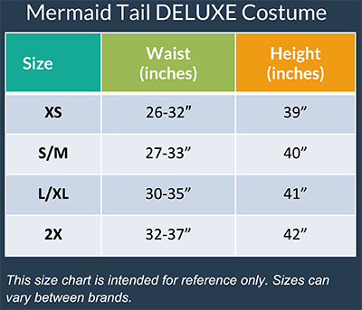 Magical Mermaid Sparkle Tail DELUXE Costume Size Chart
