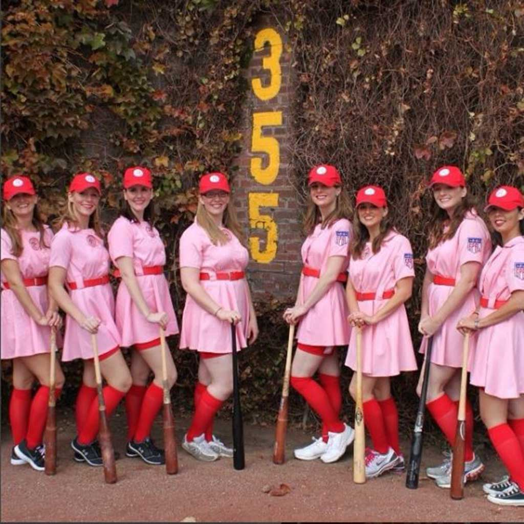 Rockford Peaches AAGPBL Baseball Costume Dress Team Photo