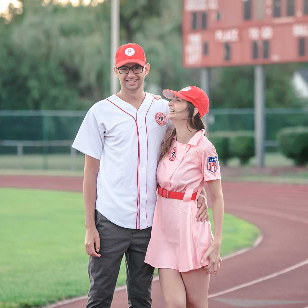Rockford Peaches AAGPBL Baseball Mens Costume Jersey & Hat Couple