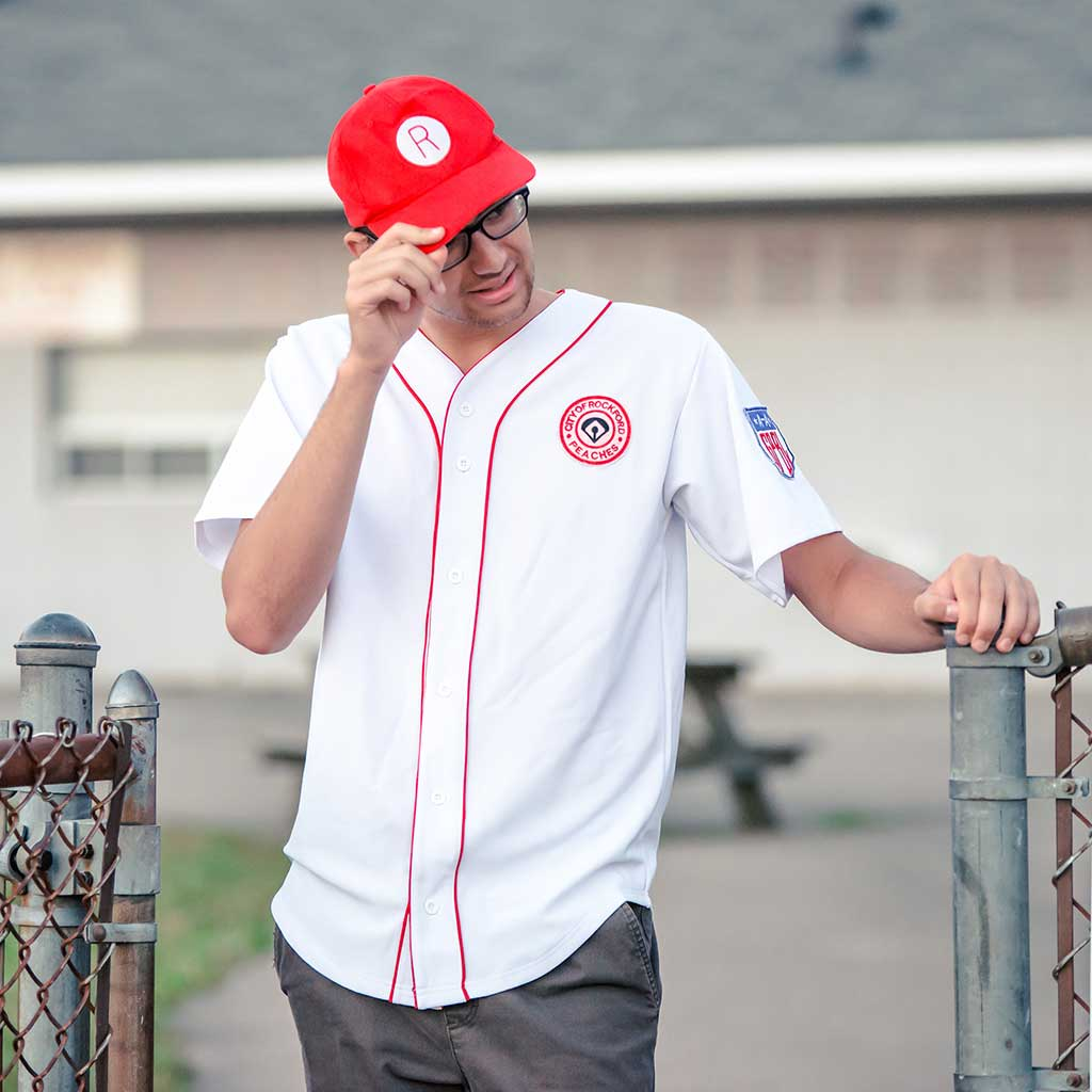 Rockford Peaches AAGPBL Baseball Mens Costume Jersey & Hat Guy