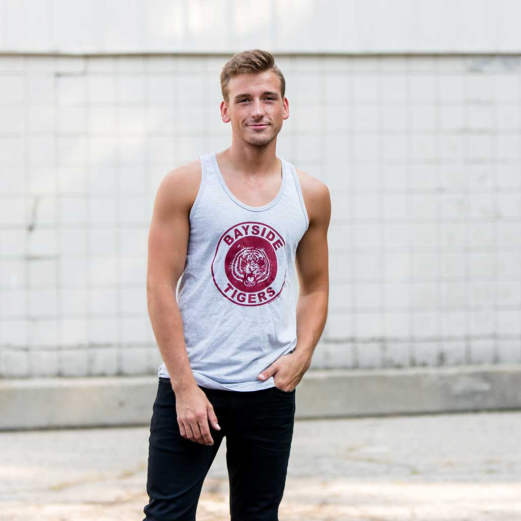 Saved By The Bell Bayside Tigers Logo Heather Gray Men's Tank Top Guy