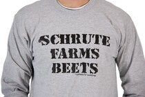 The Office Schrute Farms Beets Heather Gray Adult Long Sleeve Shirt