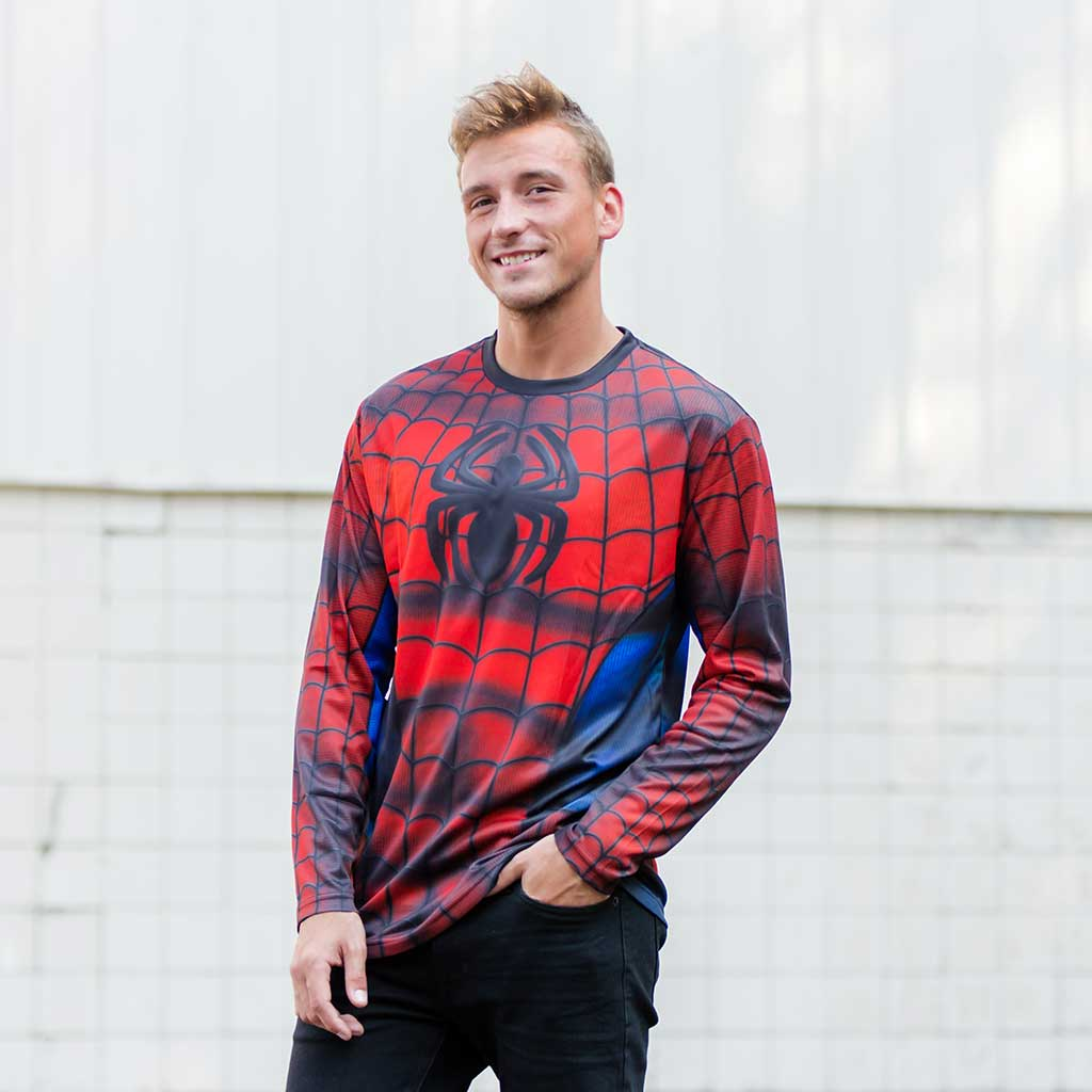 Spider-Man Sublimated Adult LONG SLEEVE Costume T-Shirt Guy