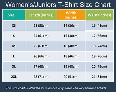 Womens/Juniors Size Chart