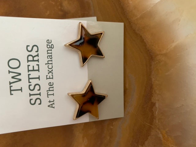 Star studded tortoise-shell earrings