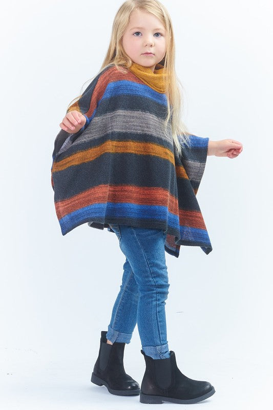 Moving Along Stripe Cowl Neck Poncho - shoptheexchange