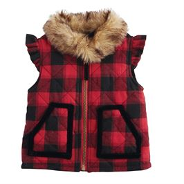 Buffalo Check Fur Vest - shoptheexchange