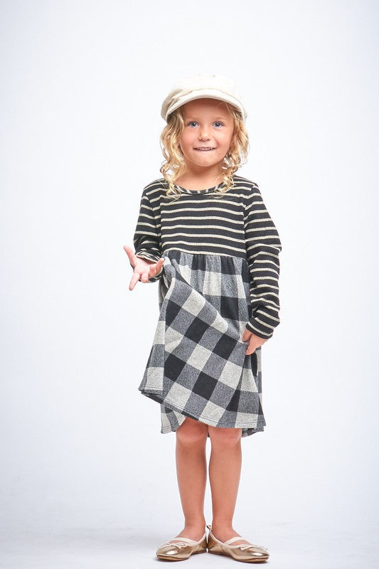 In The Know Plaid and Stripe Dress - shoptheexchange
