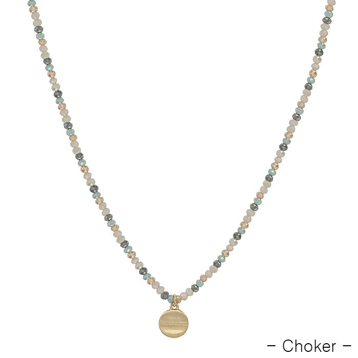light multi crystal with gold coin drop choker 14-17 inch - shoptheexchange