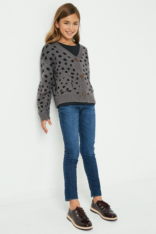 Big Reputation Grey Leopard Print Cardigan
