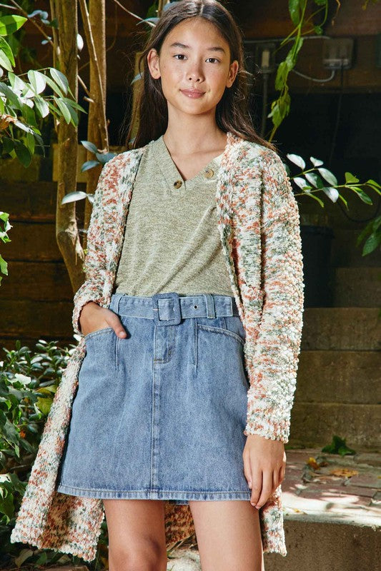Change The Tempo Belted Denim Skirt
