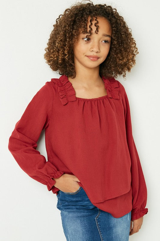Found My Way Burgundy Tiered Pleated Shoulder Top