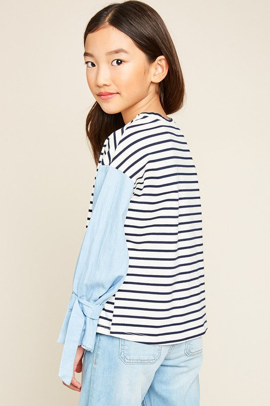 Just The Simple Things Stripe Top w/Cuff Detail - shoptheexchange