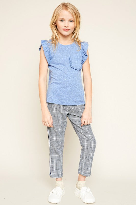 Ruffle and Hustle Blue Front Pocket Top - shoptheexchange