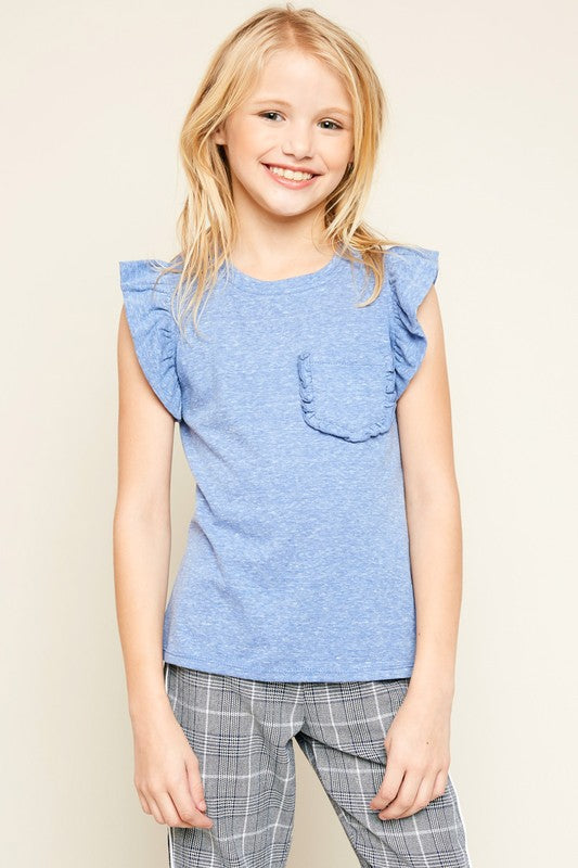 Ruffle and Hustle Blue Front Pocket Top