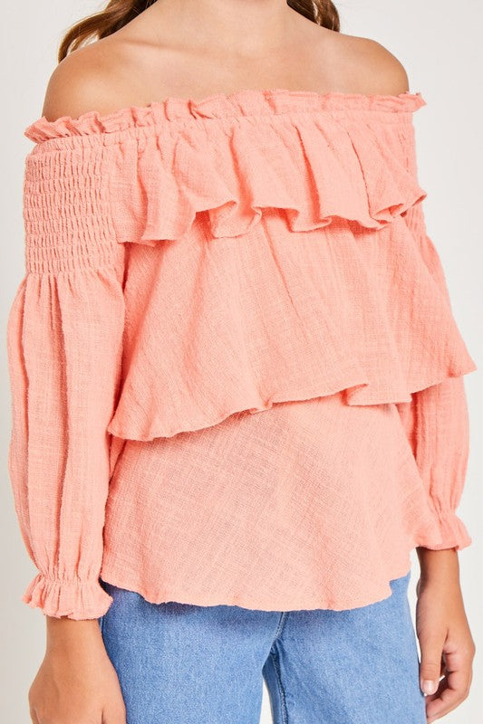 Peachy Keen Ruffle Top - shoptheexchange