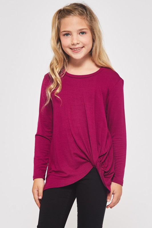 Magenta Knotted Tunic Top