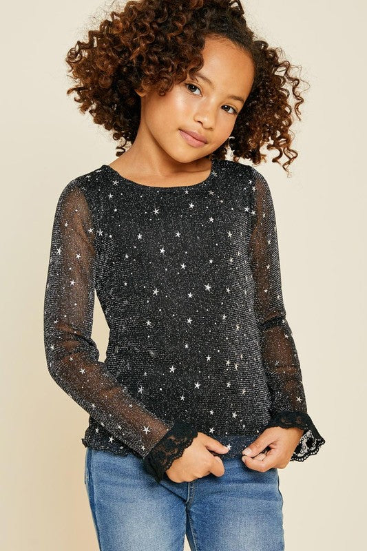 Tween Sheer Mesh Sparkle Top - Black - shoptheexchange