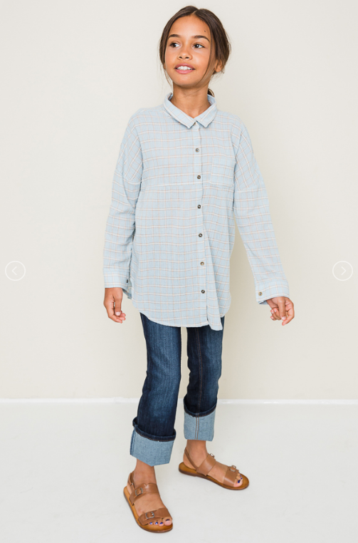 Tween Plaid button down shirt - Sky Blue and Daffodil Yellow - shoptheexchange