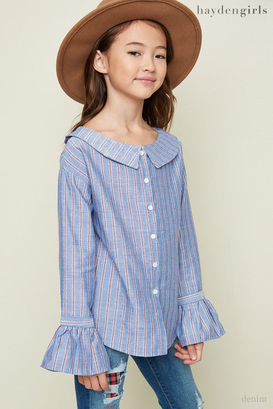 Boat Neck Button Up Blouse - shoptheexchange
