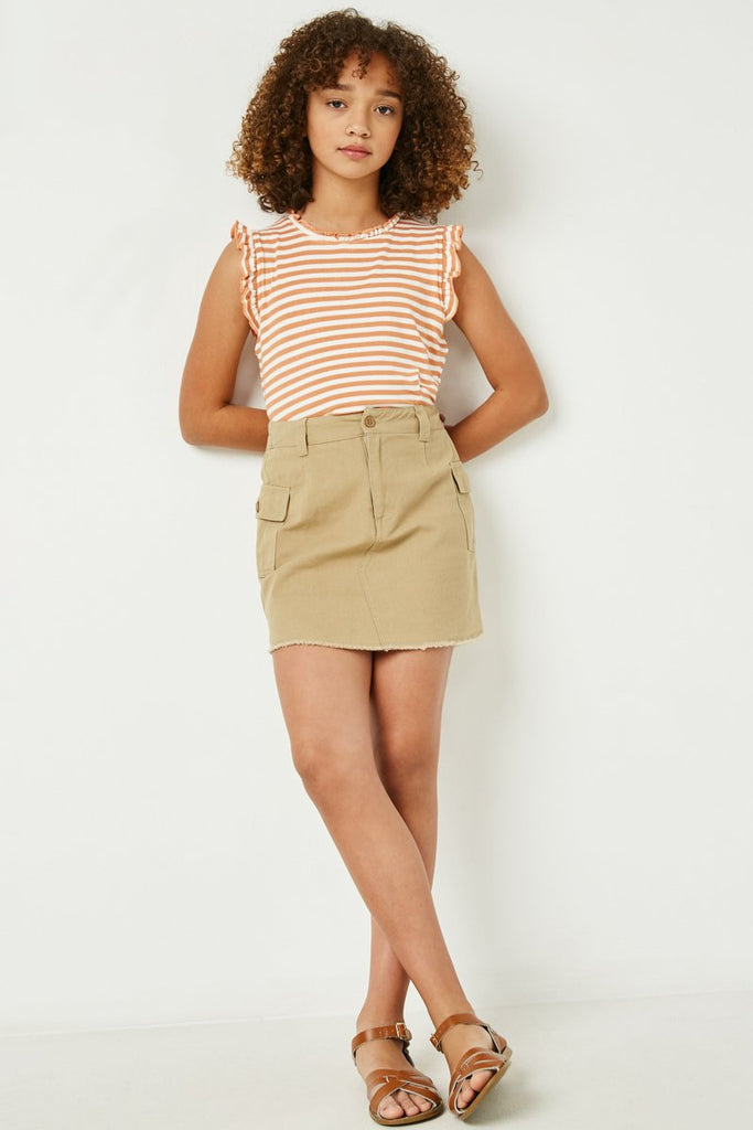 Coral Ruffle Neck Striped Tankk - shoptheexchange