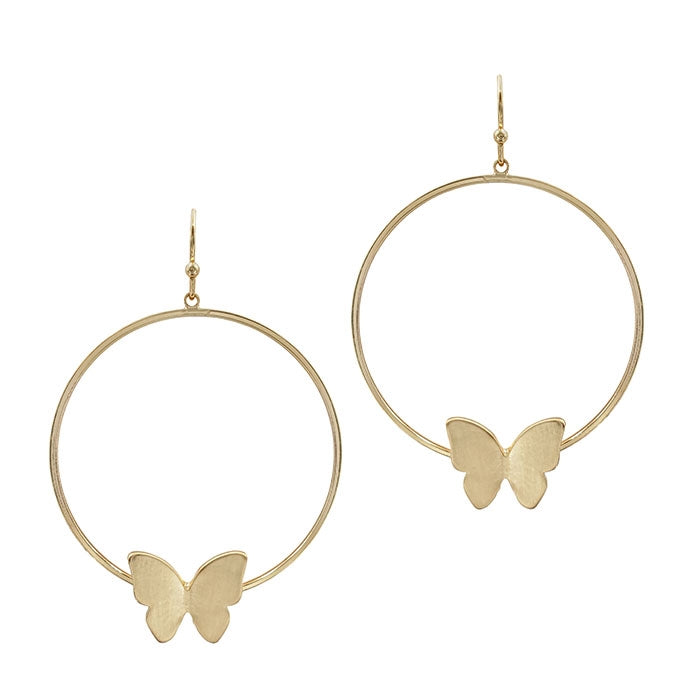 Gold Hoop with Butterfly earrings