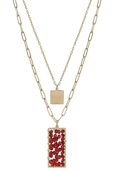 Garnet Crystal Pendant Layered necklace