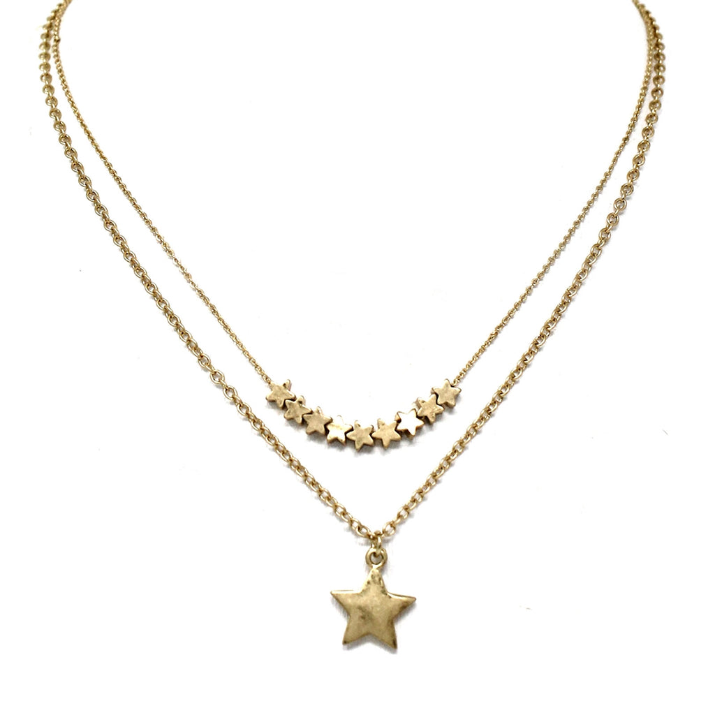 Gold star two layer necklace