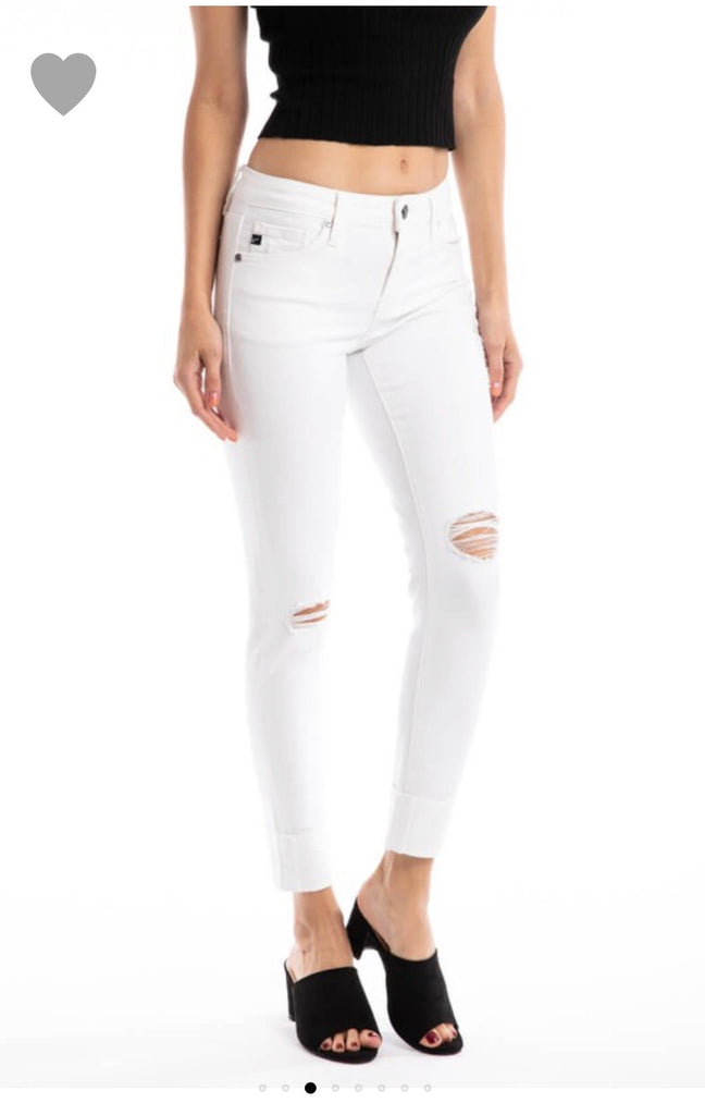 KanCan Mid Rise White Super Skinnies