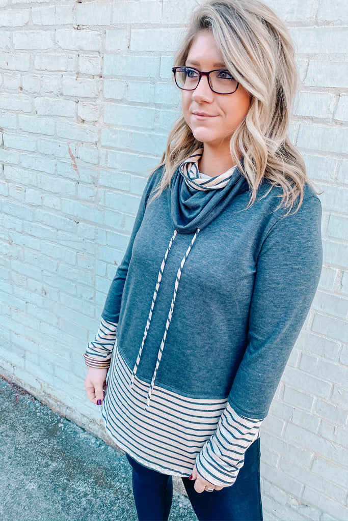 Gone for Good Striped Cowl Neck Top