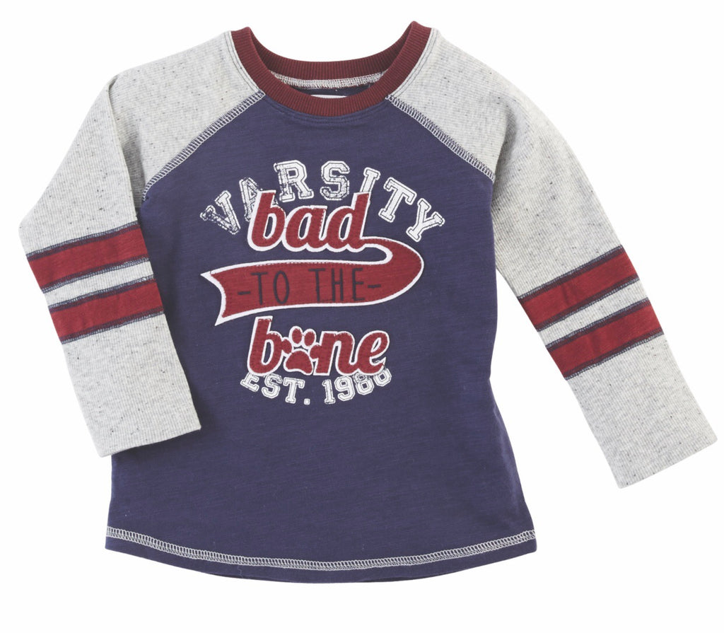 Bad to the bone varsity tee - shoptheexchange