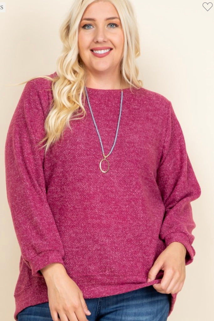 Plus Size Solid Light Knit Top - Magenta - shoptheexchange